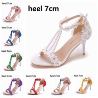 Sandals Crystal slippers queen high heels six inches three inches, for women open finger party night you'll see lace pearl flowers free ZIJ6
