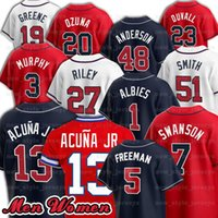 2021 Marcell Ozuna Jersey 5 Freddie Freeman 7 Dansby Swanson 13 Ronald Acuna Jr. 1 Ozzie Albies Mike Soroka Baseball Jerseys