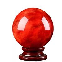 Pequeña bola de cristal 5-6 cm mujer hombre rojo accesorios de moda suerte rotar base cristales naturales curación piedra bolas adornos 29 yg k2
