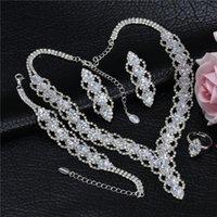 Orecchini collana orecchino braccialetto anelli signore cubic gioielli set accessori da sposa da sposa di lusso brillante rhinestone coruixi