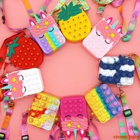 new Fidget Toys Push pops Bubbles its simple dimple Rainbow Unicorn Coin Purse bag Ladies Silicone Crossbody Bag For women Girls