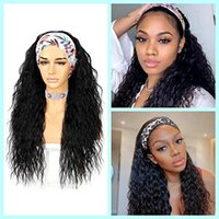 Synthetic Wigs Headband For Women Long Black Water Wave Wig Natural Hairline Full Machine Made None Lace Curly Daily Use