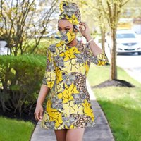 African Print Dress Outfit For Women Dashiki Top Shirts+headwrap+mask Headband Traditional Party Plus Size Ethnic Clothing