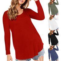 Women's Blouses & Shirts O Neck Blouse Long Sleeved Tunic T-Shirt Top Women Clothing Solid Loose Casaul Irregular Pullovers Tee Shirt Femme