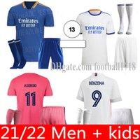 Real Madrid Jerseys 20 21 22 Mens Kid Kit Kit calcio Camicia calcistica Pericolo Sergio Ramos Benzema Asensio Camiseta 2021 Quarto 4 ° 4 ° Umanità