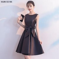 Party Dresses KAUNISSINA Short Homecoming Sleeve O-Neck Bow Solid Cocktail Dress A-Line Simple Formal Vestidos Gown