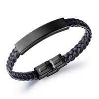 Top selling leather jewelry titanium steel men's Woven Leather Bracelet