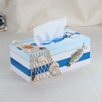 Tissue Boxes & Napkins Mediterranean Modern Wooden Box Creative Sailling Boat Figurine For Home Decoration Household Furniture Sundries Stor