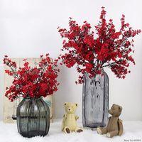 장식 꽃 화환 실크 벚꽃 인공 꽃 가짜 사쿠라 나뭇 가지 일본 장식 매실 플로레스 테이블 홈 weddin