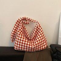 Evening Bags SWAGONE Women's Shoulder Strap Handbag Check Canvas Crossbody For Women 2021 Designer Luxury Bag With