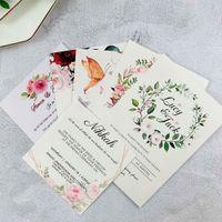 5.7x5.7inch Personalizado Personalizado Invitaciones de boda 5x7 pulgadas Sweet XV Quinceañera Cumpleaños Invitaciones RSVP Tarjeta de felicitación 50pc