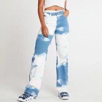 Kadın Kot Kadın Bahar Denim Ekleme Renk Orta Bel Düğmesi Fermuar Placket Düz-Bacak Pantolon Kızlar Için Cepli