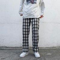 Pantalones heterosexuales de los hombres Streetwear Hip Hop Cargo Haggy Pantalones casuales Pantalones de impresión de celosía Pantalones de sujeción Negro / Albaricoque Pantalones