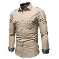 Erkek Casual Gömlek Negizber Four Seasons Erkekler Denim Gömlek Katı Renk Takım Taşımacılığı Pamuk Yaka Uzun kollu için