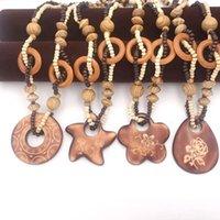 Vintage Böhmische Nationale Wind Ozean Starfish Woody Perlen Anhänger Halskette Frauen Modeschmuck Geburtstagsgeschenk Colar Collier