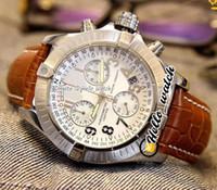 Новый Seawolf Chrono Diver Pro Barenia A1338012 Белый циферблат Miyota Quartz Chronograph Mens часов STOPWatch коричневые кожаные часы Hello_Watch