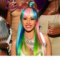 사용자 정의 무지개 색 머리 가발 합성 내열 레이스 프린지 블랙 루트 옹브 핑크 블루 하이라이트 색상 가발