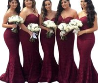 Vintage Mermaid Burgundy Bridesmaid Dresses Strapless Lace 2022 Maid of Honor Long Evening Prom Party Wedding Guest Gowns