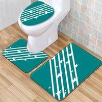 Carpets Striped Checkered Carpet Toilet 3 Piece Set Of Floor Mats Home Bathroom Rug Non-slip Kitchen Area Mat