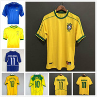 Rétro Brésils 1994 1988 1998 2000 2004 2004 2004 Jerseys de football Romario Ronaldinho Rivaldo Kaka 94 98 00 02 06 Chemise de football au Brésil