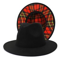 Black and Red Plaid Bottom Patchwork Wool Felt Jazz Fedora Hats for Women Men Wide Brim Two Tone Party Wedding Formal Hat Cap