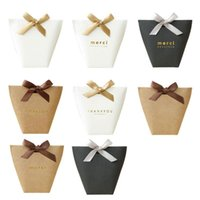 """Gift Wrap 5pcs Pack Black White Bronzing """"Merci"""" Candy Box French Thank You Wedding Favors Package Birthday Party Bags"""