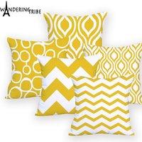 Poduszka / Dekoracyjna poduszka Poduszka Poduszka Geometryczna Żółta Dla Krzesła Spersonalizowana Poszewka Pasek Rzut Outdoor Custom Printed