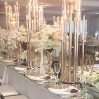 Party Decoration 8 Arms Tall10pcs) Acrílico Cristal Tubo Castiçais Casamento Candelabros Table Centerpiece 075