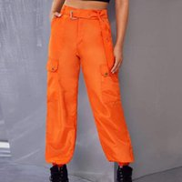 Women's Pants & Capris Fashion High Waist Casual Loose Linen Solid Colors Cargo Baggy With Belt Trousers Sweatpants Pantalones Mujer#35