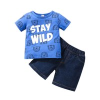 Boys Clothing Sets Baby Outfits Kids Clothes Summer Cotton Letter Cartoon Print T-shirts Denim Shorts Infant Casual Wear 2Pcs B8263