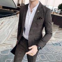 Men's Suits & Blazers Jackets+Pants Sets Men Slim Fit Boutique Plaid Casual Business Groom Wedding Dress Tuxedo Male Formal Wear