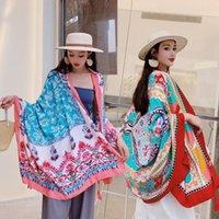 Bufandas étnica viento bufanda hembra borla impresión grande mantón primavera y verano viajes seda playa vacaciones sol protección solar