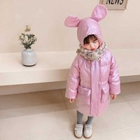 Bear Leader 2021 Winter Children Long Thick Down Jacket Boys and Girls Over the Knee Bright Down Coat Kids Warm Parkas Outwear G0908