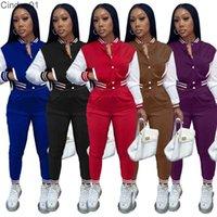 Women Tracksuits Two Piece Set Designer Baseball Uniform Jackets Sweatpants Outfits Sweatsuits Sport Joggers Pants Varsity Suits