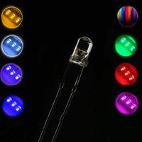 가벼운 구슬 10pcs 3mm / 3f 라운드 울트라 밝은 LED 방출 다이오드 물 클리어 램프 9 색 RGB 노란색 파란색 흰색 전구 DIY 조명