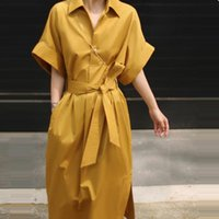 Casual Dresses [EWQ] 2021 Trend In Early Autumn Ladies Shirt Dress Chic Belt Short Sleeve Turn-down Collar Trendy Straight Clothing