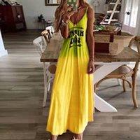 Vintage Women Letter Print Maxi Dress Summer V-neck Sleeveless Sling Dresses Girls Long Beach Dresses Sundress Vestidos