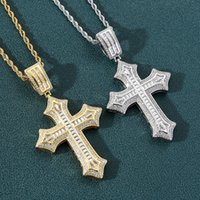 Flower Cross Pendant Necklace Mens Gold Cuban Link Chain Necklace Iced Out Pendant Hip Hop Jewelry