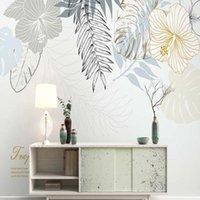 바탕 화면 유럽 손 그림 나무 잎 벽지 꽃 벽화 거실 po 벽 종이 롤 홈 장식 사용자 정의 어떤 크기