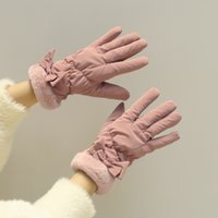 Cycling Use Down Cotton Thickened cold-proof cute touch screen gloves plus velvet to keep warm