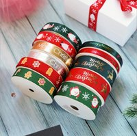 Merry Christmas Ribbon for Gift Box Package Wrapping Hair Bow Clip Accessory Making Crafting Xmas Ribbon 10yd