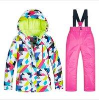 키즈 스키 정장 방수 바지 + 자켓 세트 방풍 및 따뜻한 겨울 스포츠 소년 / 여자 스키 스노우 보드 스케이팅을위한 두꺼운 옷