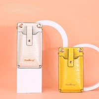 Card Holders Crocodile Pattern Ladies Mobile Phone Credential Holder Coin Purse Id Woman Wallet Vertical Zipper Messenger Bag