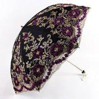 Ombrelloni 2021 stile ombrello moda due pieghevole rivestimento nero ricamo pizzo anti-UV ombrellone vintage fiore signora ombrellone