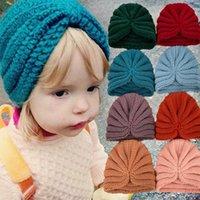 Caps & Hats Solid Color Knitted Baby Hat Turban Winter Warm Boys Girls Bonnet Soft Crochet Kids Children Cap Beanies