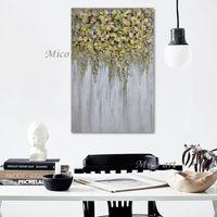 간단한 최신 디자인 손으로 그린 추상적 인 황금 나무 벽 캔버스 팔레트 나이프 유화 예술 드롭 스프 핑 그림 벽 예술