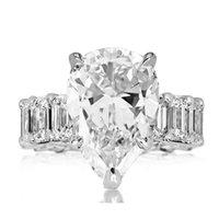 10ct grande anel de diamante jóias vintage 925 esterlina prata original cocktail pêra corte branco topázio gemstones mulheres casamento anel de banda de noivado
