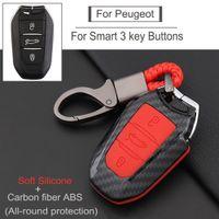 New ABS Car Key Case Full Cover For Peugeot 308 408 508 2008 3008 4008 5008 Citroen C4 C4L C6 C3-XR Smart Shell Accessories