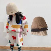 Kids vertical knitted hat girls letter labeling beanie autumn winter children protection ear warm bucket basin cap Q2198