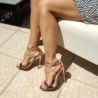 OnlyMaker Gold Color Womens Perlen Kette Knöchel Strappy Stilettos 12 cm High Heel Sandalen Offene Zehen Einzelne Band Perle Sandalen Schuhe 210302